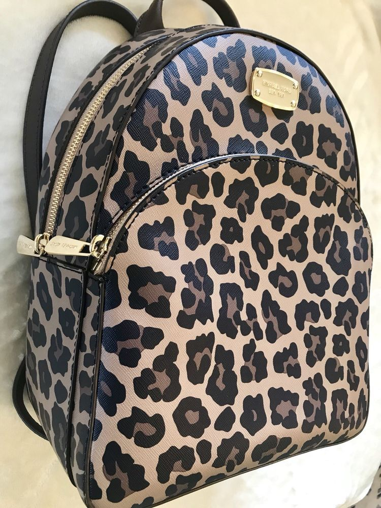 b9537c3a2f73 NWT Michael Kors Abbey Medium Backpack Natural Leopard Print MSRP: $328.00