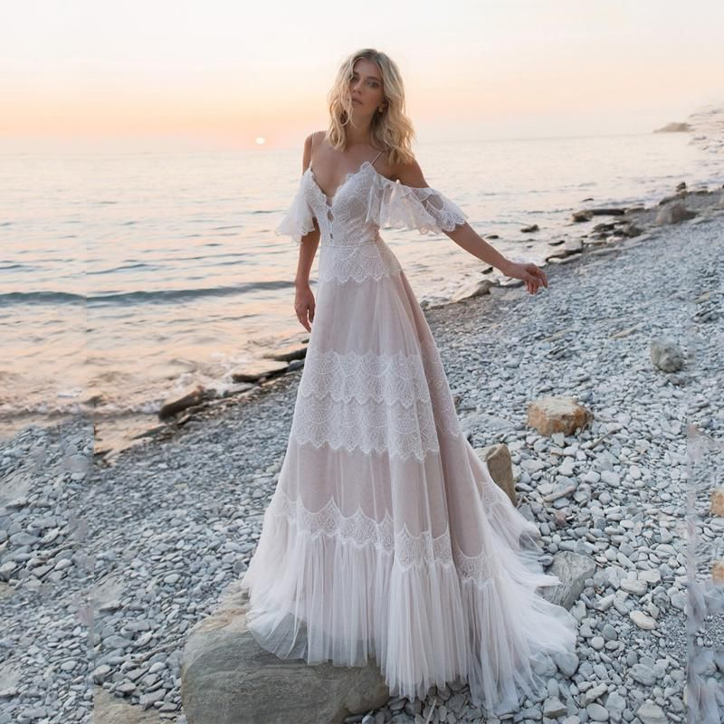 Bohemian Wedding Dresses Off Shoulder Lace Appliques Bridal Gowns Sexy Backless Beach A Line Wedding Dress Robe De Mariee 11