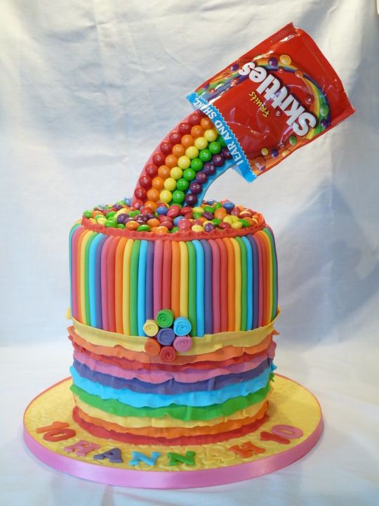 Rainbow Gravity Skittle Cake Cakesdecor Com Recipes