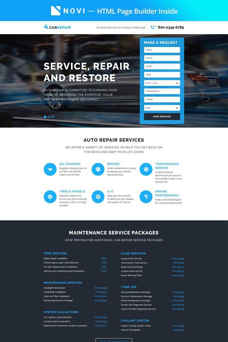 Carrepair Practical Car Repairing Workshop With Built In Novi Builder Landing Page Templates 67411 Invoice Template Word Landing Page Page Template