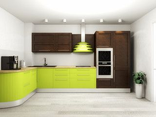 Interior of modern kitchen 3D rendering