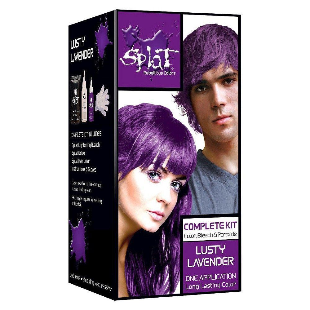 Hair Color Discover Splat Hair Color Bleach Kit Lightening Bleach 1 Kit Splat Hair In 2020 Dyed Hair Purple Permanent Purple Hair Dye Lavender Hair Colors
