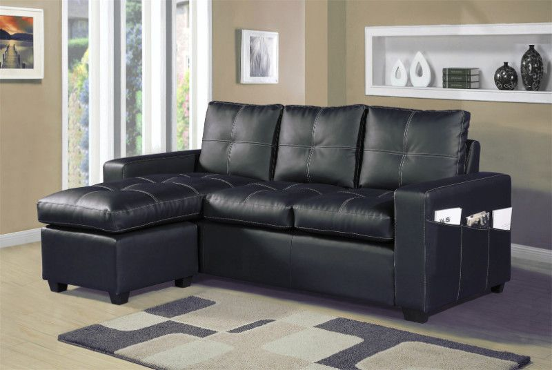 2 Pc Everly Black Faux Leather Sectional Sofa Set With Reversible