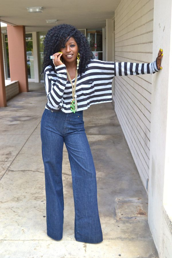 954f8bb893d6 Style Pantry | Cropped & Striped LS Top + High Waist 70s Jeans ...