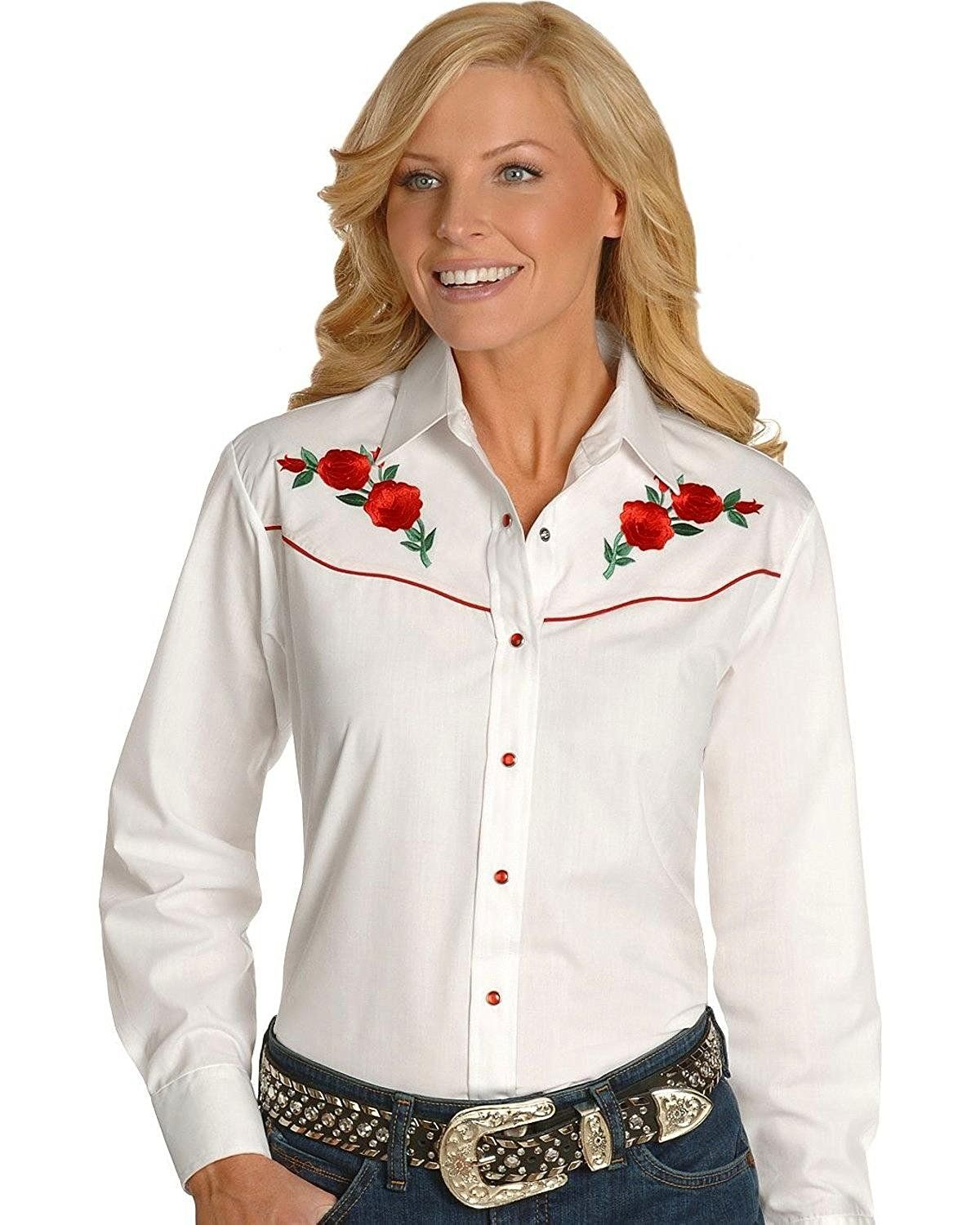 82f8ffd116 Ely Cattleman Long Sleeve Ladies Rose Embroidery White Red Snap Western  Shirt    This is an Amazon Affiliate link. Check out the image by visiting  the link.