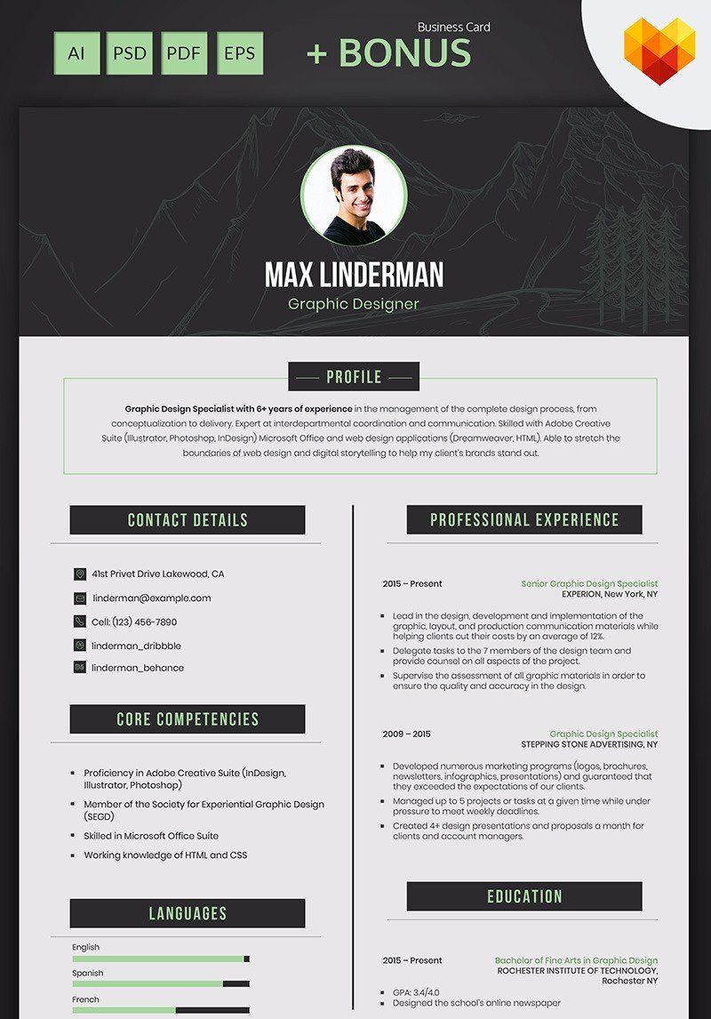 Max linderman graphic designer resume template graphic
