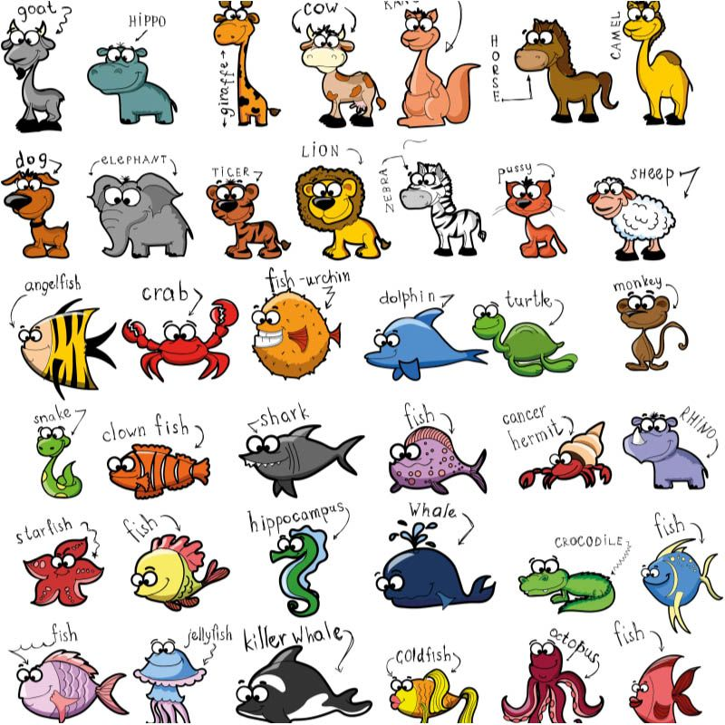 Funny cartoon animals for kids vector (с изображениями