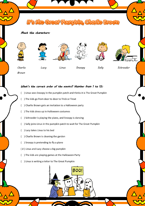 Movie Worksheet: It\'s The Great Pumpkin, Charlie Brown | Snoopy ...