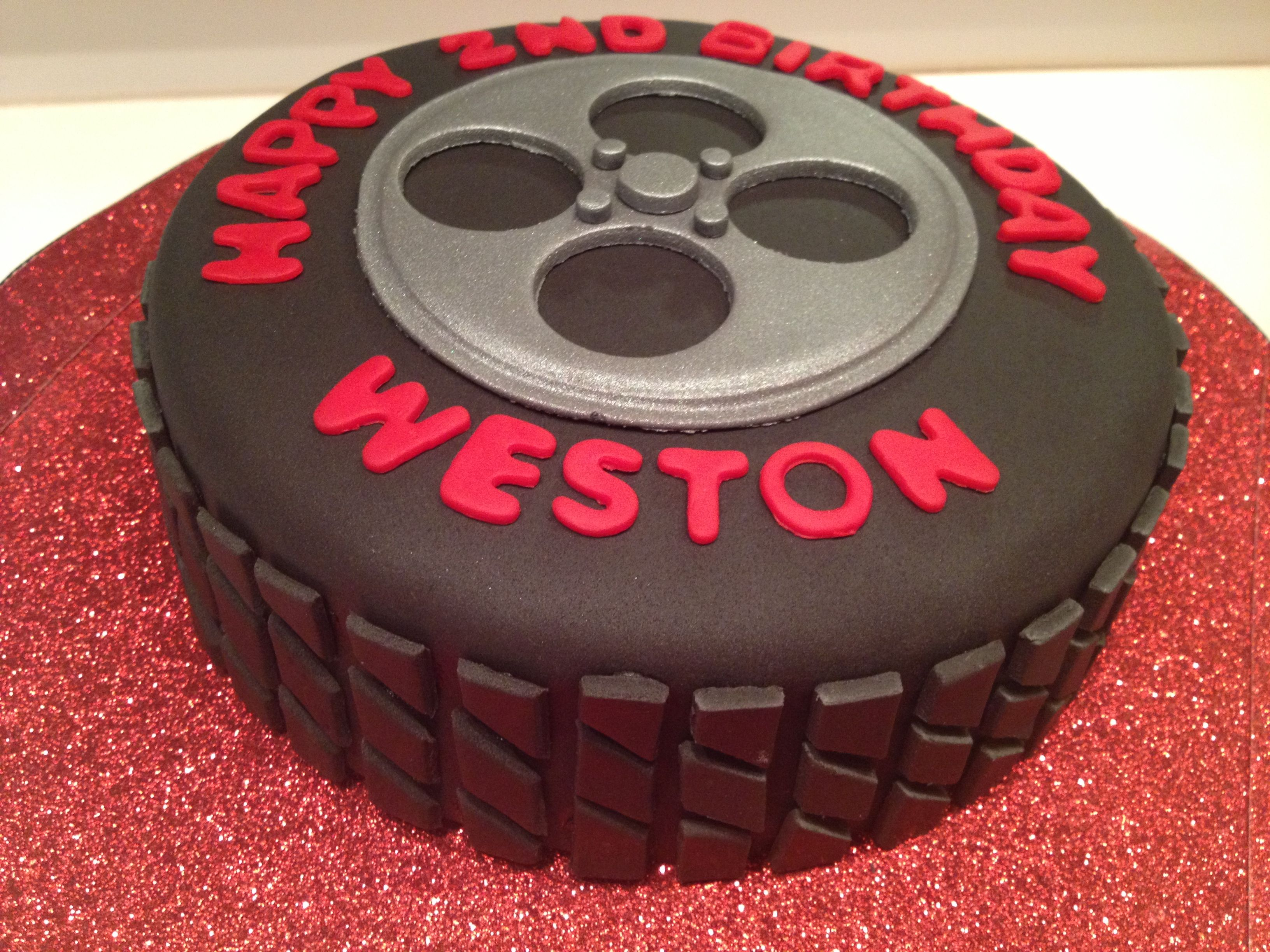 Tire cake With keys and car for 16th birthday I feel the need to