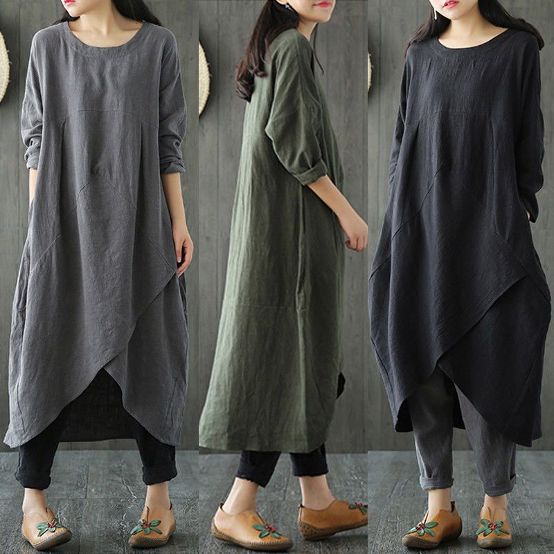 ZANZEA Women Long Sleeve Asymmetrical Loose Casual Kaftan Tops Shirt Dress Plus