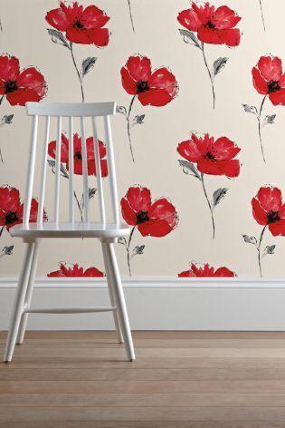 Poppy Print Wallpaper Country Cottage Decor Poppy Wallpaper Poppies