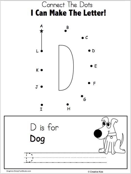 Letter D Writing And Dot To Dot Worksheet Madebyteachers Dot Worksheets Writing Practice Preschool Preschool Letters