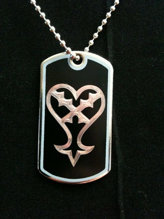 Kingdom Hearts Heartless Symbol Dog Tag Necklace By Ambersunset