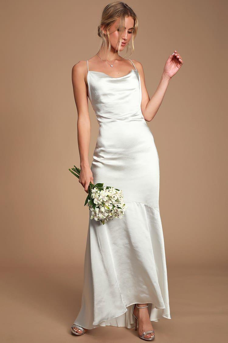 Aisle White Satin Cowl Neck Maxi Dress In 2020 White Satin Dress Dresses Satin Dresses