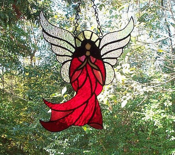 Stained Glass Suncatcher Angel in Red Dress - Handcrafted - Made In USA on Etsy, $30.00