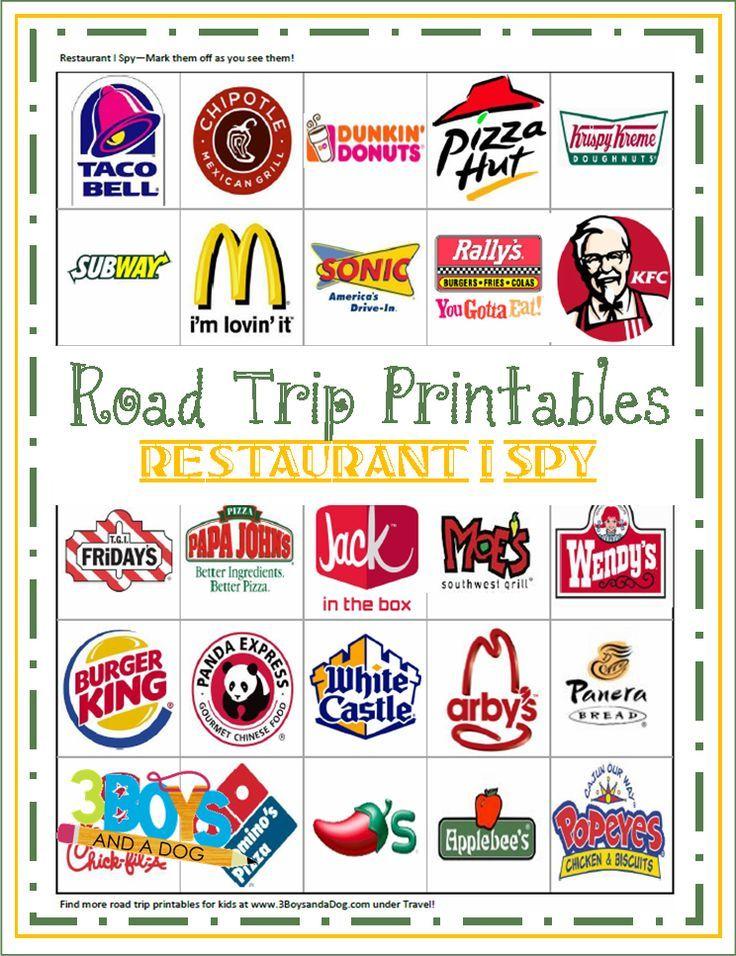 Road Trip Printables for Kids Restaurant I Spy Road