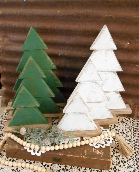 Rustic Wood Christmas Tree Set of 3 Farmhouse Trees, Rustic Tree Set, Rustic Porch Decor, Holiday Porch Decor, Wood Trees #rusticporchideas