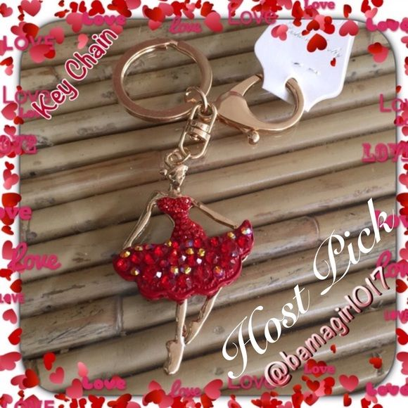 """♓️️❤️Beautiful Red Ballerina Key Chain❤️ ♓️️ by @alyssia14 for """"Best in Jewelry"""" Party.  Beautiful Red Ballerina Key Chain.  Approx 1 1/2"""" wide and 2 1/2"""" tall.  NO ️️,NO LOW BALLING Accessories"""