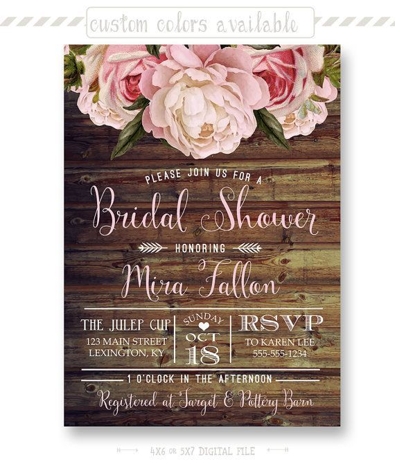 8e203174524f Rustic Floral Bridal Shower Invitation Shabby by shopPIXELSTIX