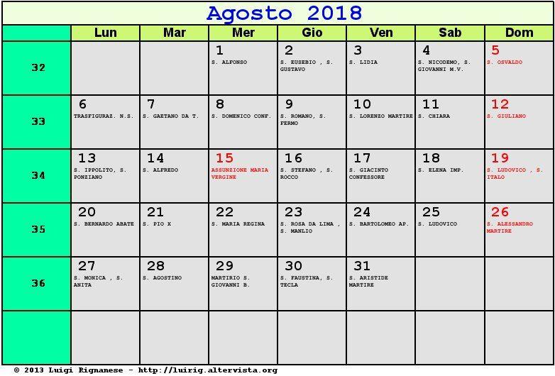 Santa Lucia Calendario.Calendario Agosto 2018 Gratis Calendario Agosto 2018