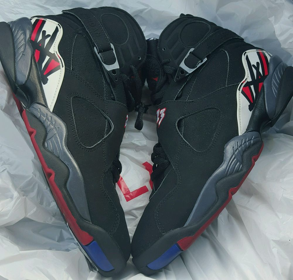 meet 3dd5b 7fc15 Nike Air Jordan 8 VIII Retro Playoffs Black Varsity Red Concord 305381061   Jordan  AthleticSneakers