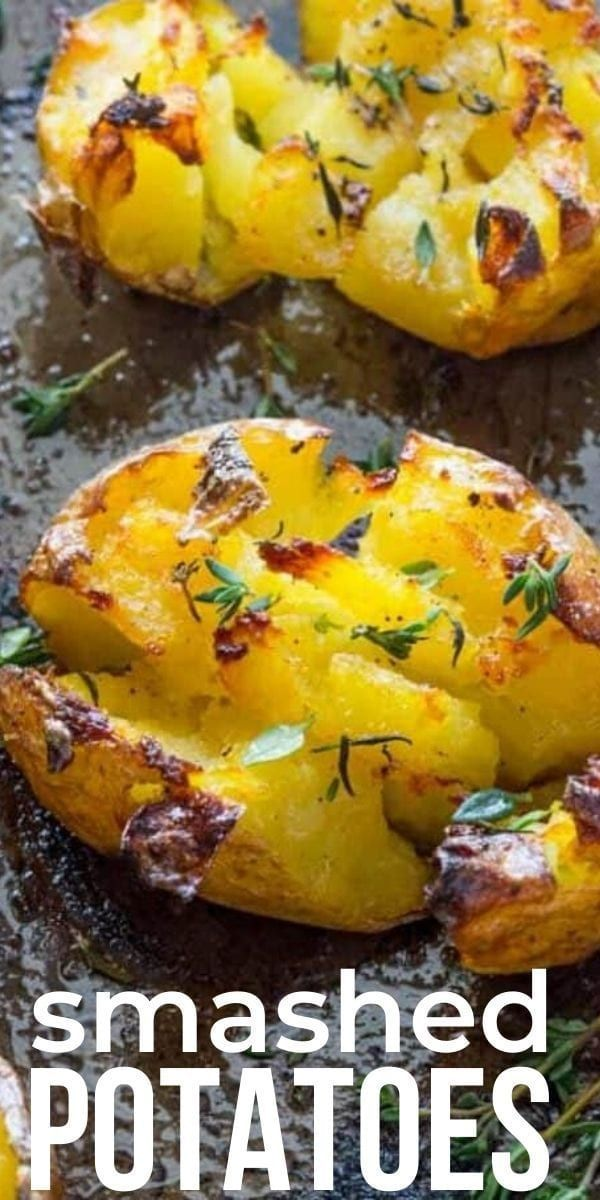 Smashed Potatoes - REALLY Crunchy !! with garlic and herbs - Best Crispy Smashed Potatoes recipe, very quick and easy. In the O ...#crispy #crunchy #easy #garlic #herbs #potatoes #quick #really #recipe #smashed
