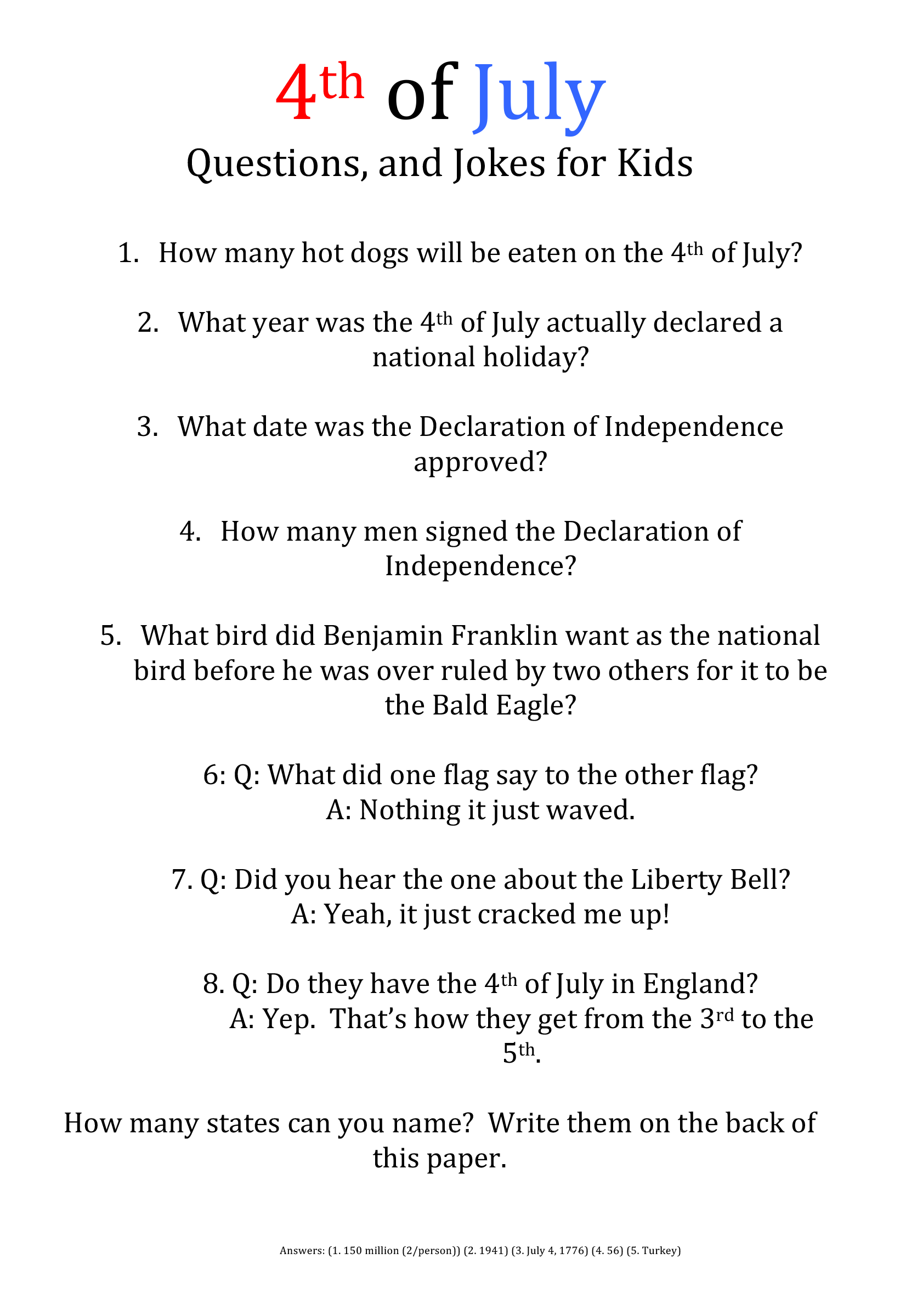 Forth Of July Fact Sheet For Kids By