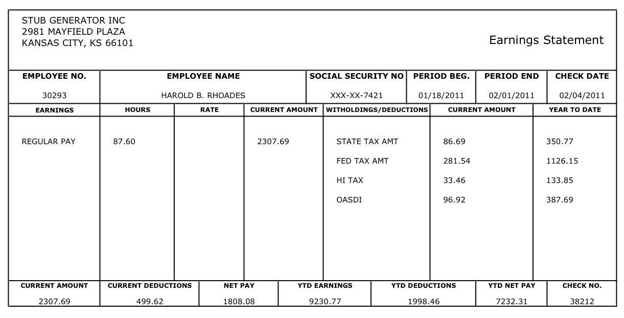 Free Printable Blank Paycheck Stubs Heres An Example Of The