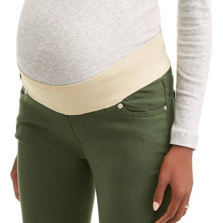 efb8281428bda Oh! Mamma Maternity Demi Panel Super Stretch 5-Pocket Colored Twill Pants,  Women's, Size: XL, Green