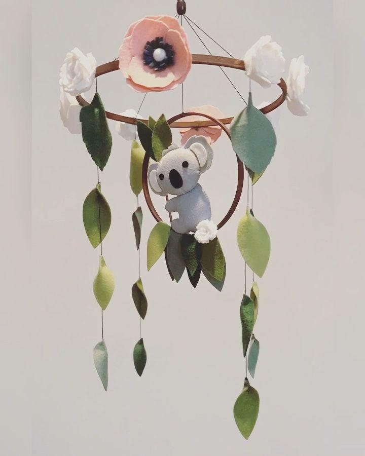 Photo of FELT KOALA CRIB MOBILE | FLOWER MOBILE | BABY GIRL NURSERY DECOR | BABY SHOWER