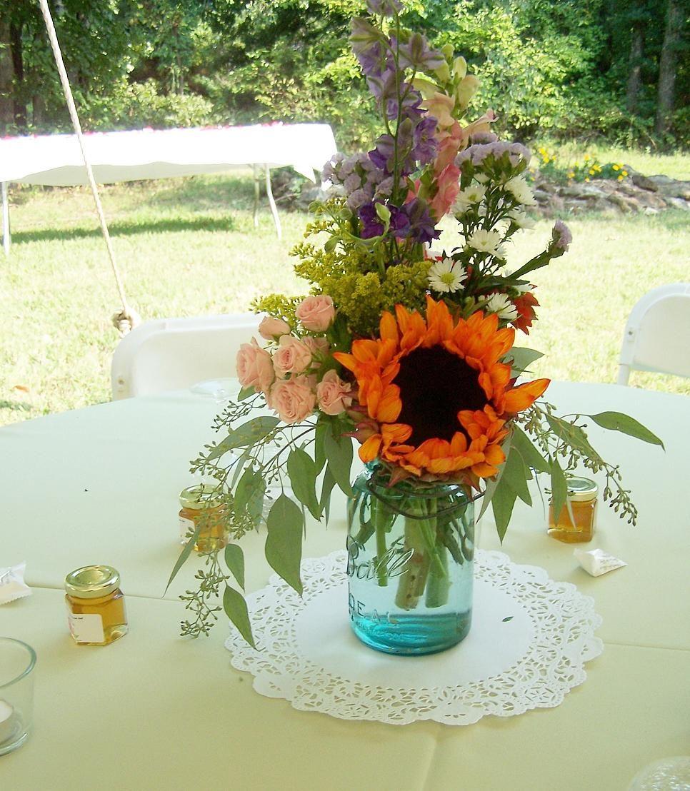 Wedding Flowers In Mason Jars: Sunflower, Spray Roses, Seeded Eucalyptus And Yellow