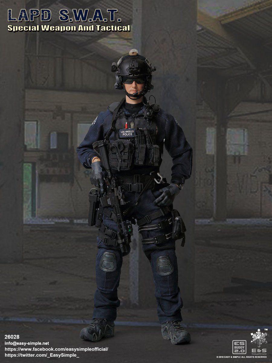 LAPD SWAT Black Combat Vest w//Hook /& Loop Pouch Set 1//6 scale toy Speed