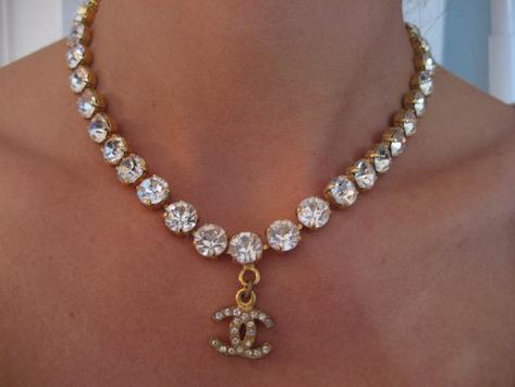 Chanel Vintage Cc Drop Rhinestone Choker Miley Cyrus Rihanna Vintage Chanel Rhinestone Choker Crystal Choker Necklace
