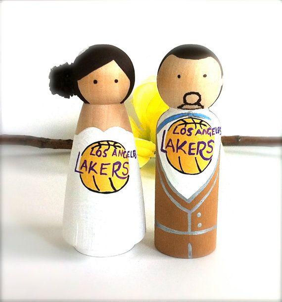 Sports Wedding Cake Topper with Custom Sports Logos LA Lakers Bride ...