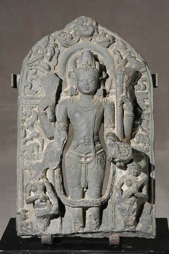 <b>Indian Black Stone Stele of <i><b>Vishnu</b><b>…