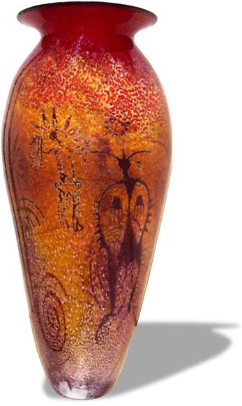 Red Petroglyph, glass vase ~ Richard Satava