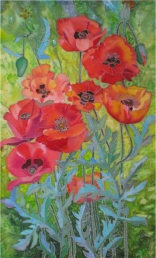 Batik Galiny Vasilevoj Blumen Kunst Mohnblumen Kunst Und Blumen Gemalde