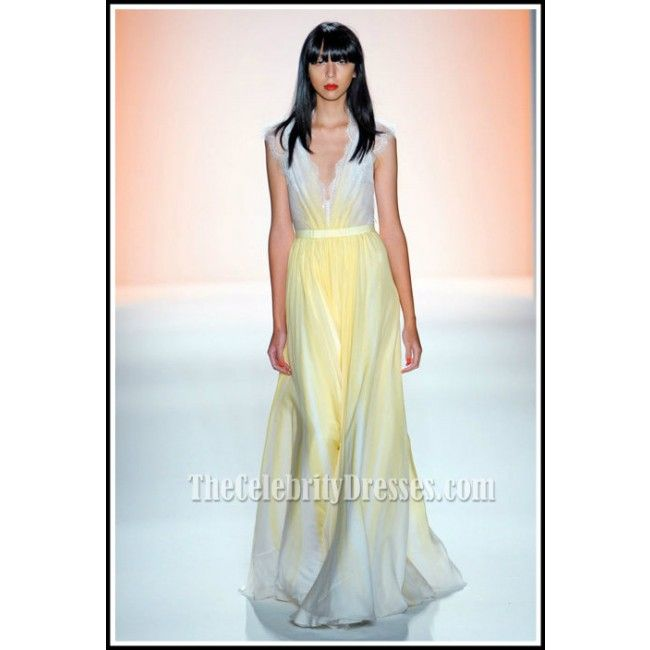 be1f196cd Blake Lively Yellow Chiffon Lace Prom Dress Gossip Girl Season 6 Fashion