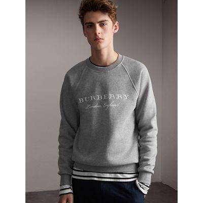 5bedfb765 Embroidered Jersey Sweatshirt in Pale Grey Melange - Men | Burberry  Singapore Rockabilly Men, Embroidered