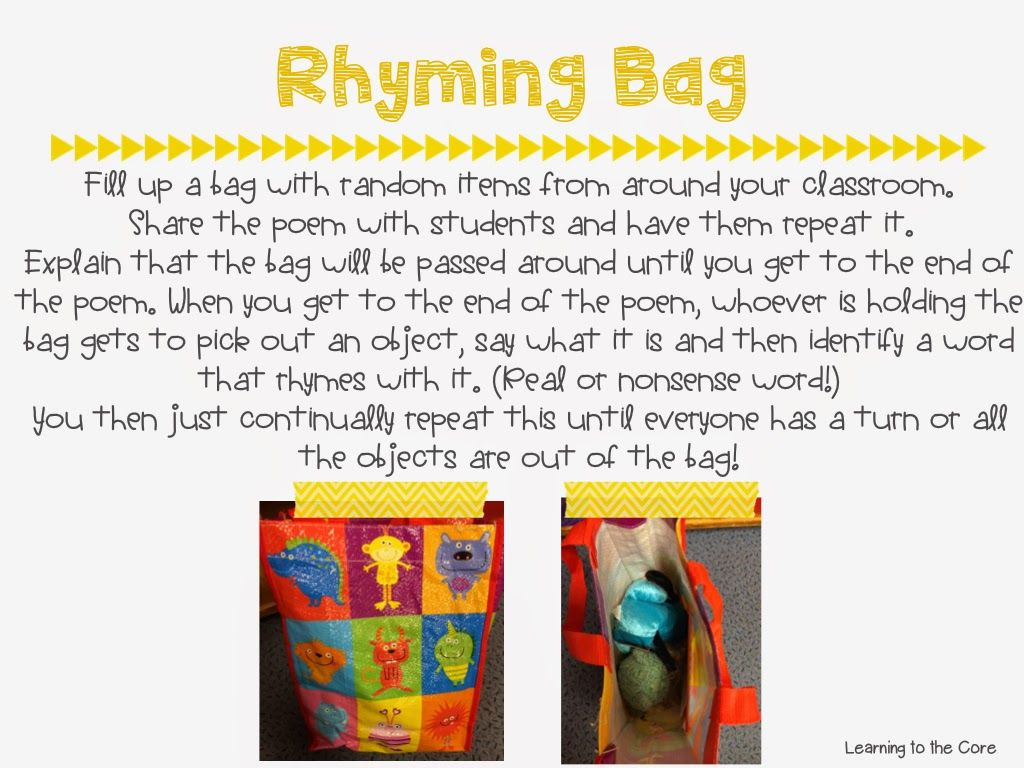 Learning To The Core We Love Our Rhyming Bag
