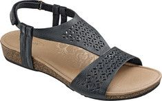 Womens Aetrex Piper Ankle Strap Sandal Size 39 M Black Leather