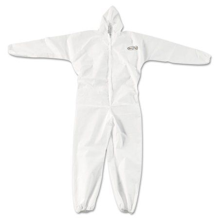 KleenGuard* A20 Elastic Back, Cuff & Ankle Hooded Coveralls, Zip, X-Large, White, 24/Carton, Size: XL