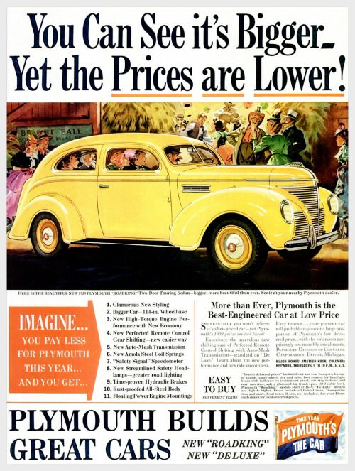 """vintageadvertising: """"  Plymouth You can see it's bigger yet the prices are…"""