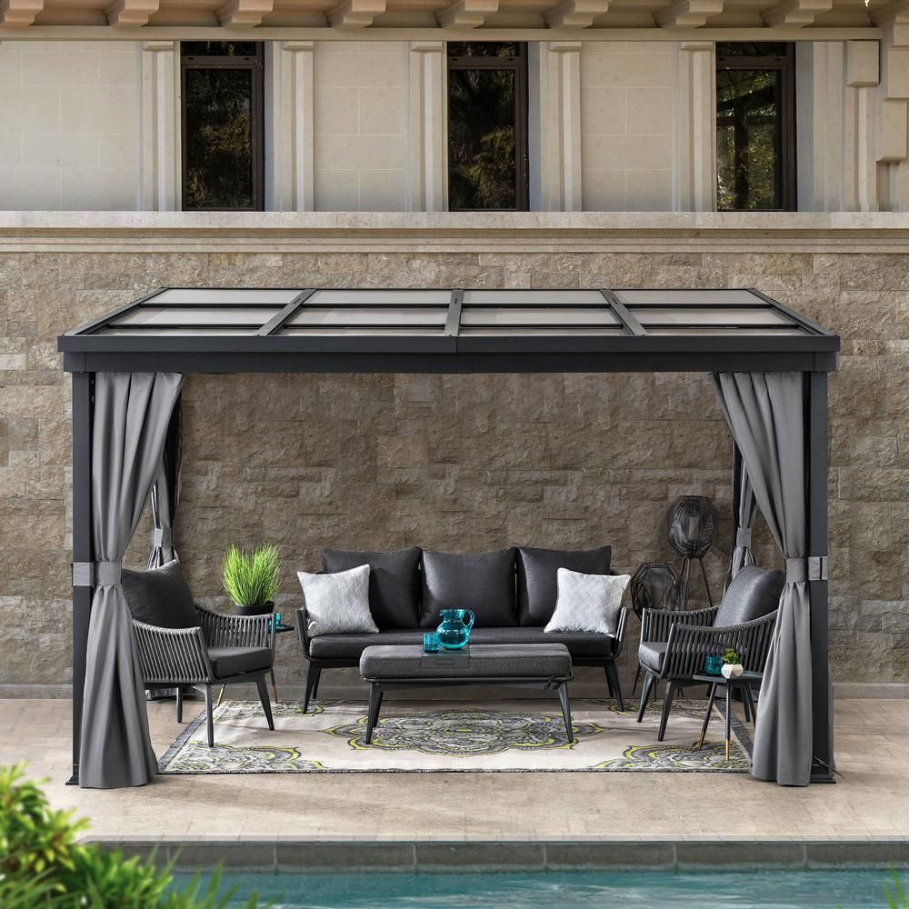 Sunjoy Chenal 10 Ft X 12 Ft Black Steel Gazebo With Adjustable Polycarbonate Hardtop A102006800 The Home Depot In 2020 Steel Gazebo Gazebo Polycarbonate Roof Panels