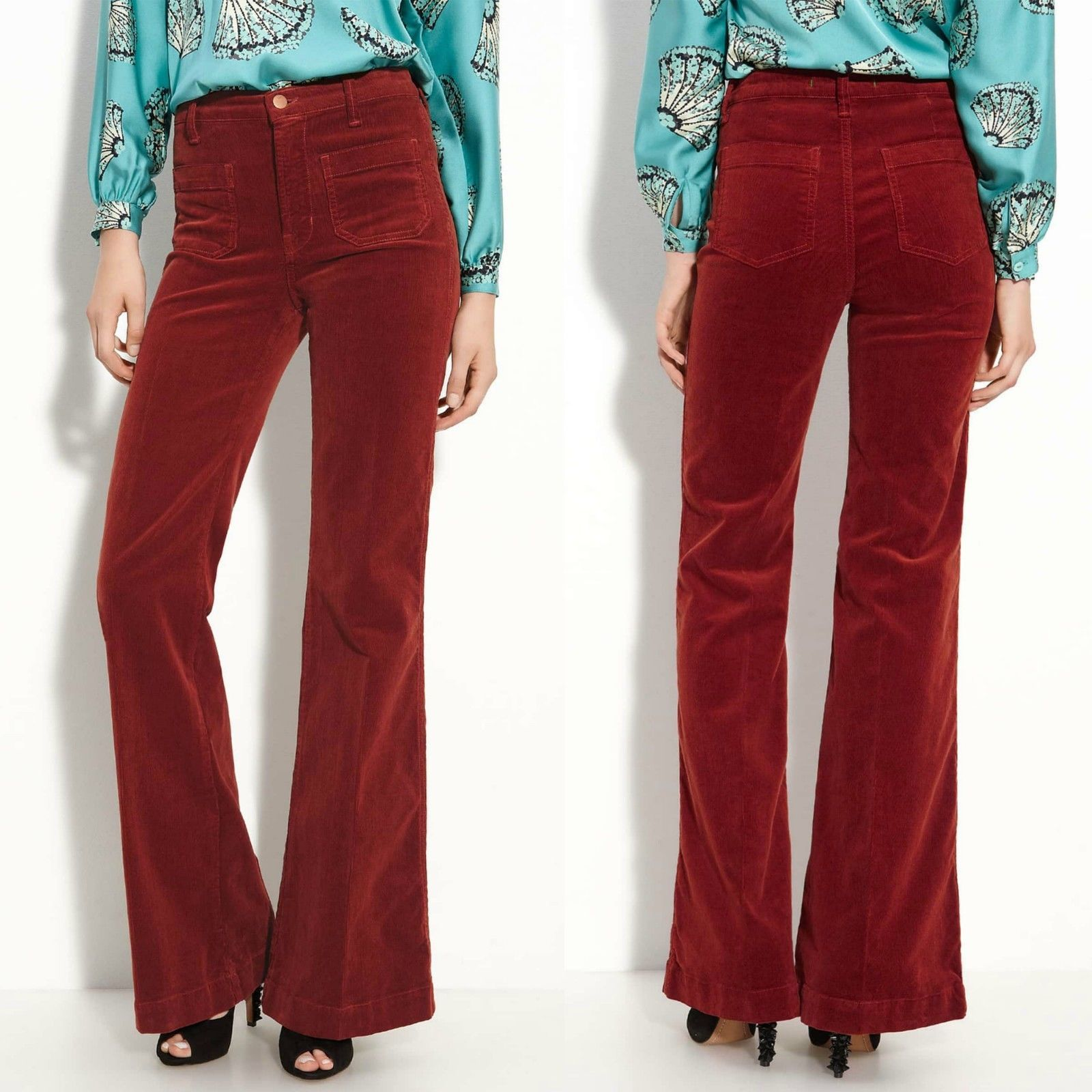 116a7394bf J Brand Ali Flare High Rise Bell Bottoms Burgundy Red Corduroy Pants Size 28