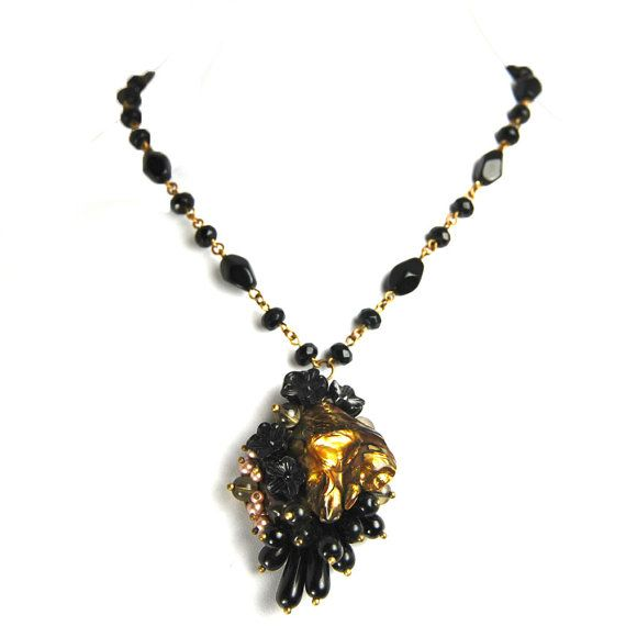 FLOWERS of DUSK Vintage Black Glass Flowers Gold Baroque Pearl Powder Almond Swarovski Pearls Black Diamond Czech Glass OOAK Nouveau Motley