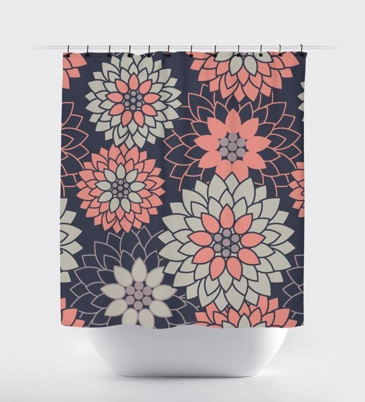 Thistle Sage Apartments: Navy/Coral Flower Shower Curtain