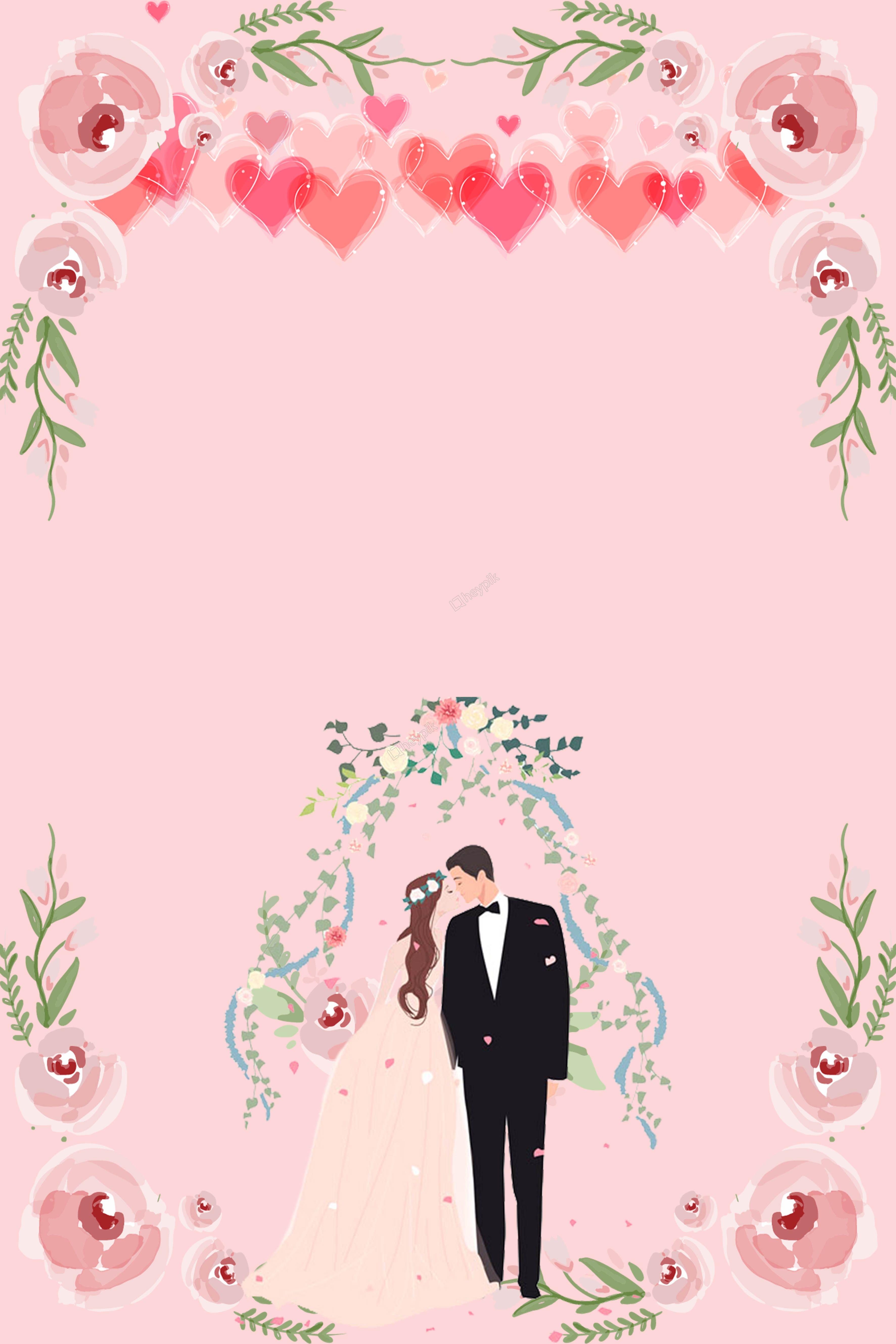 دعوة زفاف خلفية التوضيح Wedding Invitation Background Wedding Invitation Posters Cartoon Wedding Invitations