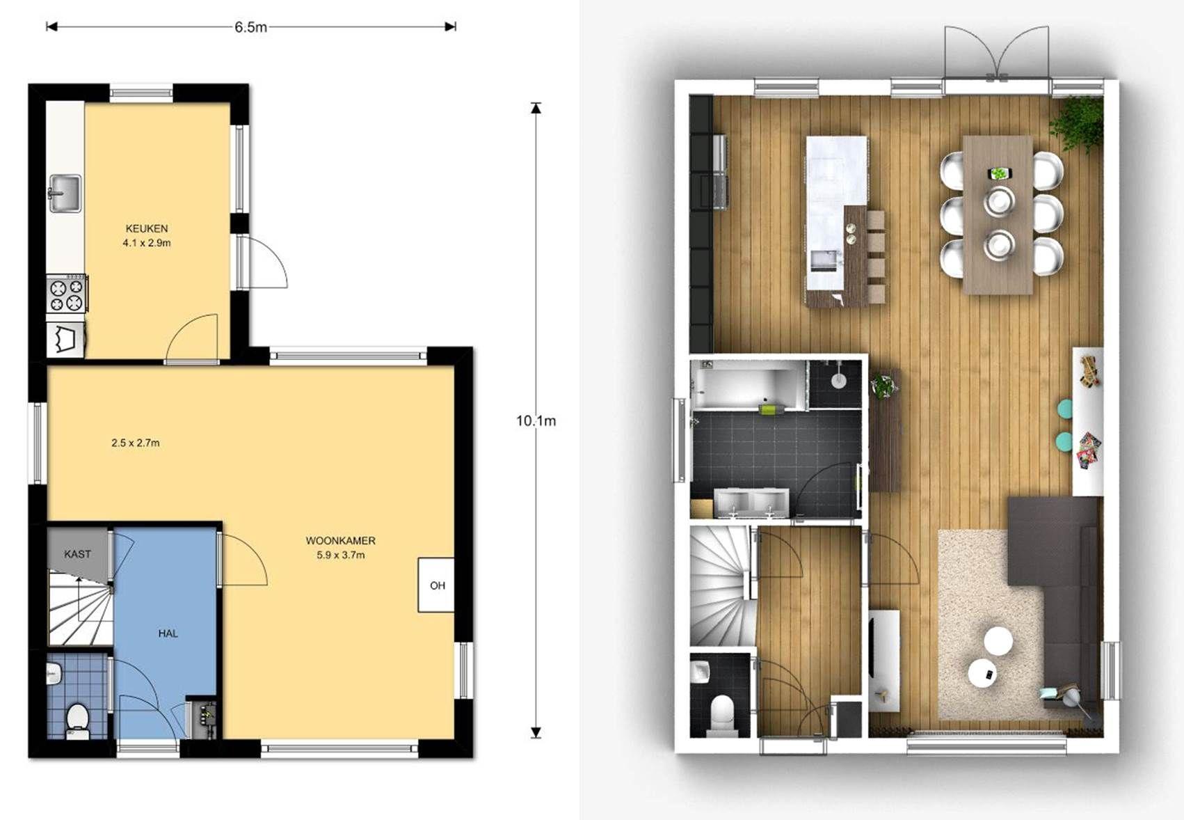 Plattegrond interieuradvies woonkamer keuken badkamer for Interieur advies