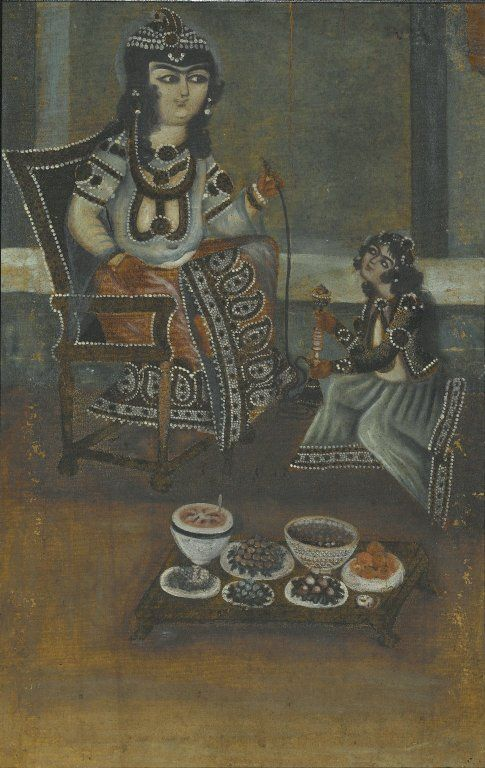 Female Attendant Offering a Waterpipe to a Princess Seated on a Throne Medium: Oil on canvas, mounted on panel Dates: 19th century Dynasty: Qajar